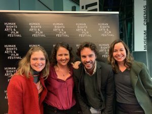 Katerina (left), with Amanda Cahill, Damon Gameau and Malinda Wink, at the opening of the Human Rights Arts and Film Festival