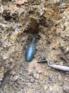 Torpedo bottle found by Eden at Wesley Church archaeological dig in 2018